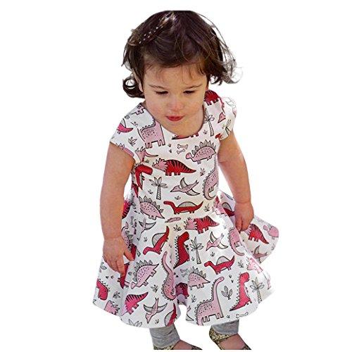 Kinderkleidung Kleider für mädchen Longra Baby Kinder Mädchen Kurzarm Sommerkleider Kleinkind Cartoon Dinosaurier Print Sun Kleid Festliche Baumwolle T-shirt Kleid Festkleid (White, 90CM - Für Dinosaurier-kostüm Kleinkind