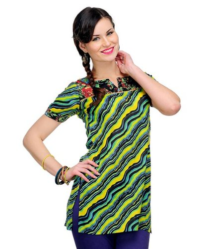 Yepme Women's Cotton & Polyester Aimee Stripe Black & Yellow Kurti - XS  available at amazon for Rs.209