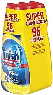 Finish Powergel, Gel Detersivo per Lavastoviglie Liquido, Multiazione, Limone Sgrassante, 96 Lavaggi, 3 Confez