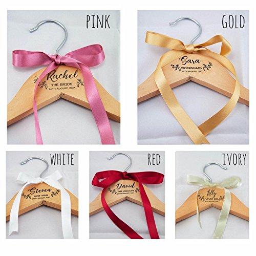 Personalised Wedding Bridal Bridesmaid Keepsake Prom Coat Hangers - White or Wooden Laser Engraved, NO Vinyl Stickers Used – Personalised Wedding Dress Coat Hanger - L1086