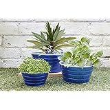 Store Indya, Set de 3 jardineras, Macetas artesanales en azul revestido de polvo de hierro, jardin al aire libre de accesorios