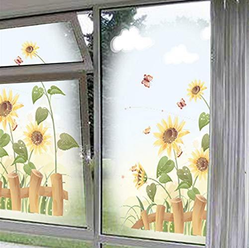 Cchpfcc Garten Sonnenblume Wandaufkleber Hauptdekor Wohnzimmer Kinderzimmer Fenster Schöne Landschaft Pvc Wandtattoos Kunst Diy Wandbild Poster