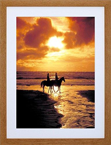 9x7-mp-photo-seascape-beach-horses-sunset-ocean-sand-framed-art-print-f97x567