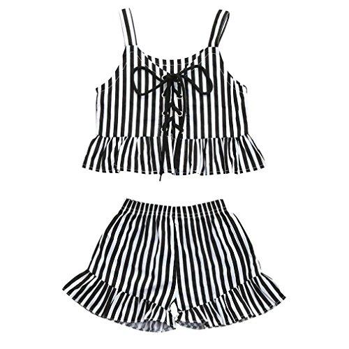 7e76352283 Conjuntos Para Bebé NiñAs DRESS Start® Camiseta Tops Linda ImpresióN A  Rayas Correas Sin Mangas
