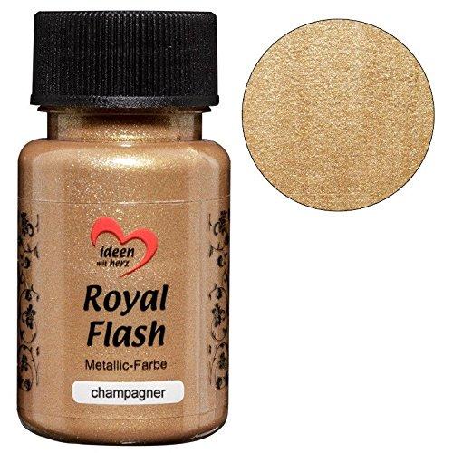 Royal Flash, Acryl-Farbe, metallic, mit feinsten Glitzerpartikeln, 50 ml (champagner/gold)