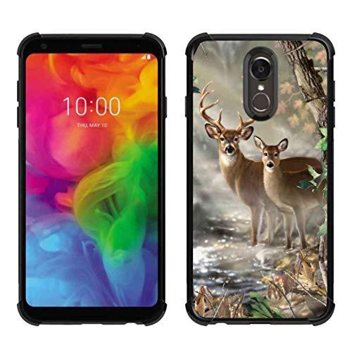 LG Q7 Hülle, LG Q7 Plus Hülle, ABLOOMBOX Stoßdämpfung, weiche Stoßdämpfung, dünne Gummi-Schutzhülle mit verstärkten Ecken für LG Q7 / Q7 Plus / Q7 Alpha, Hunting Camo Camouflage Deer in forest Pattern