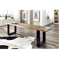 SAM® Stilvolle Sitzbank Imker aus Akazie-Holz, Bank mit lackierten Beinen aus Roheisen, naturbelassene Optik mit Einer Baumkanten-Oberfläche, 200 x 40 cm
