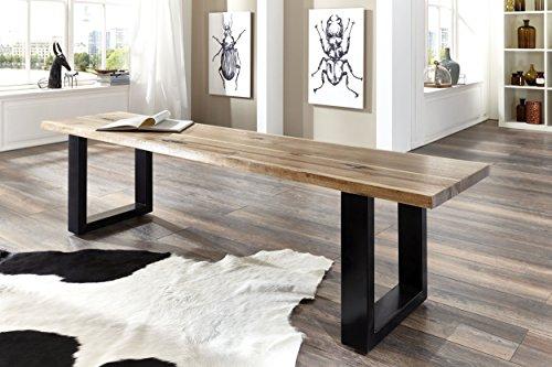 SAM® Stilvolle Sitzbank Imker aus Akazie-Holz, Bank mit lackierten Beinen aus Roheisen, naturbelassene Optik mit einer Baumkanten-Oberfläche, 140 x 40 cm