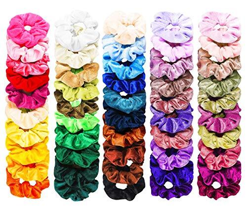 FAMINESS 50 Colori Fasci di capelli Velvet Elastici Fascette per capelli Fasce per capelli scriccianti Ponytail Holder Fasce per le donne Accessori per capelli per ragazze