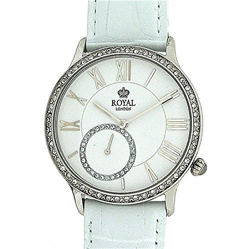 Royal London 21157-01 - Reloj para mujeres, correa de cuero color blanco