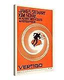 Impresión en lienzo, tamaño grande, arte en pared - VERTIGO, ALFRED HITCHCOCK - Vintage Poster – Lienzo ilustrado de 80x120cm montado sobre marco de madera – Impresión giclée sobre lienzo – Ilustración decorativa para colgar en la pared r