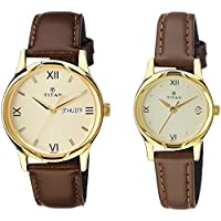 Titan Analog Gold Dial Pair Watch -NK15802490YL05