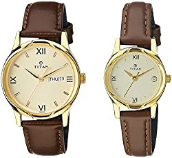 Titan Analog Gold Dial Pair Watch - NE15802490YL05