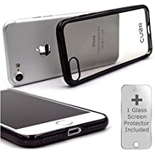 iPhone 7 Case Cover and Screen Protector Bundle by CUVR. Metallic Bumper with Transparent Back Cases for Apple iPhone 7 (Space Grey)