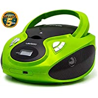 Lauson Radio y Reproductor de CD Portátil con USB | Radio Am/FM | USB y Mp3 | CD Player con Salida para Auriculares 3.5mm | CP633 (Verde)