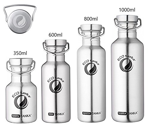 ECOtanka | 350ml / 600ml / 800ml / 1000 ml | Edelstahl-Wave-Verschluss | Edelstahl-Trinkflasche Wasserflasche Outdoor Trekking Camping Fahrrad Sport-Flasche Stahl-Kanne Behälter Gefäß | BPA frei | 100 % dicht & auslaufsicher | keine Innenbeschichtung | kein Aluminium | Getränke für jeden Anlass | umweltfreundlich, nachhaltig, ökologisch | 0,35l 0,6l 0,8l 1l (ökologische Wasser-flasche)