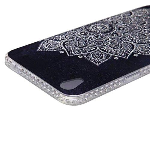 Bling Sparkle Glitter Rhinestone Resin Diamant Schützende Rückseite Cover Case Soft TPU Shell Stoßfänger [Shock Absorbtion] für OPPO R9 ( Color : D ) E