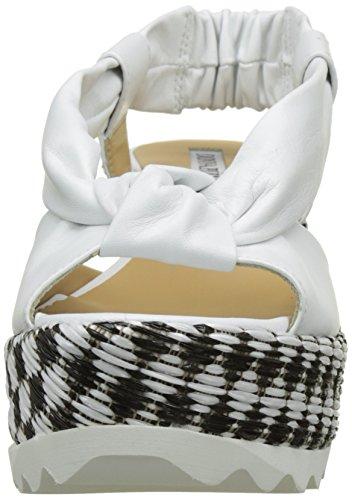 Donna Piu Crystel, Sandales Plateforme Femme Blanc (Guanto Bianco/Guanto Bianco/Keleido Nero)