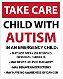 LARGE TAKE CARE- CHILD WITH AUTISM, Emergency/Safety car...