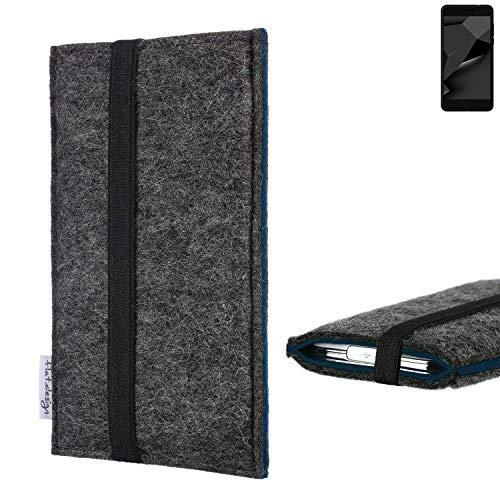 flat.design Handyhülle Lagoa für Blaupunkt SL Plus 02 | Farbe: anthrazit/blau | Smartphone-Tasche aus Filz | Handy Schutzhülle| Handytasche Made in Germany