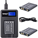 TOP-MAX® 2X NP45 NP-45 Rechargeable Li-ion Battery + USB Charger for FujiFilm FinePix XP50, XP60, Z10fd, Z20fd, Z30, Z31, Z33WP,J100, J100W, J120, J150W,Z200FD Digital Cameras,replace Fuji Battery NP-45A,NP-45B,NP-45S,Fuji BC-45 BC-45A BC-45W Battery Charger