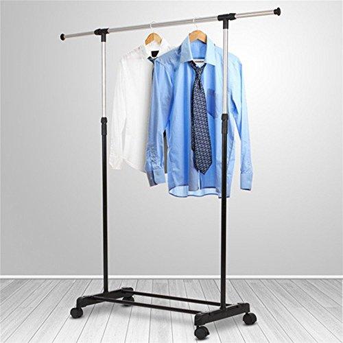 Wefun Verstellbarer Stahl Doppel kleiderständer mit Rollen,kleiderständer stabil und belastbar