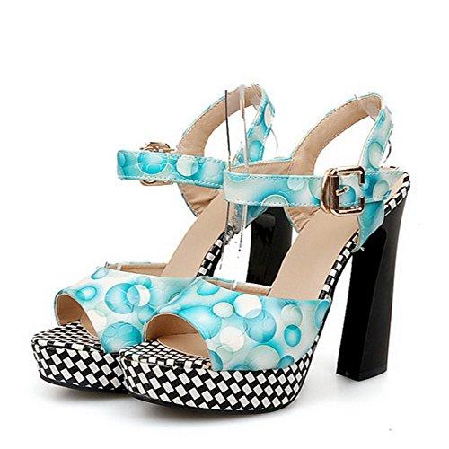 COOLCEPT Femmes Classique Plate-Forme Bloc Sandales Floral Slingback Talon hauts Chaussures Bleu