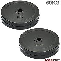 Discos de pesas olímpicos de MaxStrength de goma, para gimnasio o culturismo (5 cm
