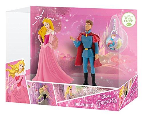 Bullyland 13423 - Spielfiguren in Geschenkpackung, Walt Disney Dornröschen, Aurora und Prinz Philip mit Schmuckanhänger