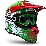 """Soxon® SKC-33 Set """"Fusion Green"""" · Kinder-Cross-Helm · Motorrad-Helm MX Cross-Helm MTB BMX Sport · ECE Schnellverschluss SlimShell Tasche S (53-54cm)"""