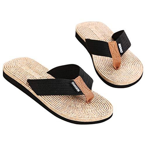 Shenglv Flip Flops Platform Sandali con Tacco a Spillo Pantofole Toe Casual Summer Tanga Beach Shoes per Uomo e Ragazzo (44 EU, Nero)