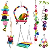ACEONE Bird Toys, 7 Pcs Parrot Swing Toy, Hanging Wooden Bird Cage Toys for Small Cockatiel Conure Parakeet Lovebird Macaw Finch