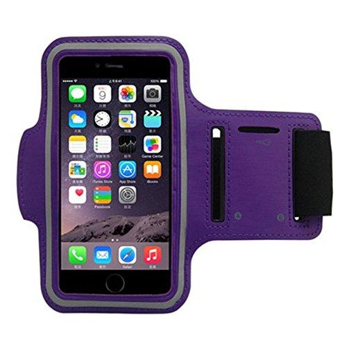 Fascia Sportiva Da Braccio Sweatproof Bracciale Per Corsa & Esercizi Con Supporto Chiave E Riflettente Armband Per iPhone 6, 6S, Samsung Viola