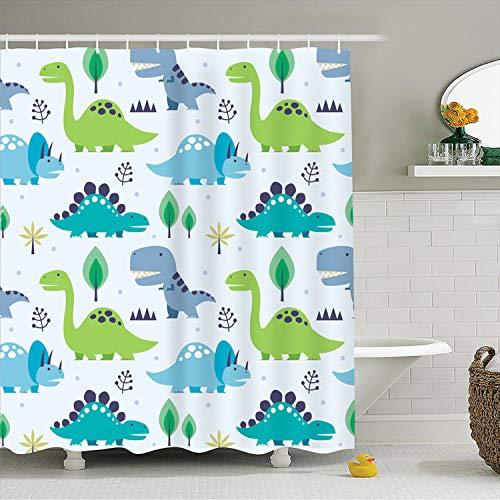 MYMYU Cartoon Duschvorhang Wasserdicht Formbeständig Bad Vorhang Waschbar Bad Vorhang Polyester Stoff 3D Duschvorhänge für Bad mit 12 Haken 70,8 '' × 78,7 '' (Dinosaurier) (Dinosaurier-bad)