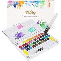 Set de Pinturas de Acuarela - 36 colores, 2 pinceles, 2 esponjas de limpieza, 5 papeles.- Perfecto para aficionados incipientes y profesionales