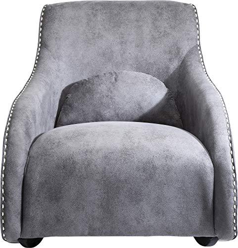 Kare Sessel Swing Ritmo Grau, Schaukelsessel aus pflegeleichtem Polyester Stoff, Schaukelstuhl im Vintage Style, gemütlicher Loungesessel mit Kippfunktion, (H/B/T) 83 x 76 x 74 cm, mikrofaser