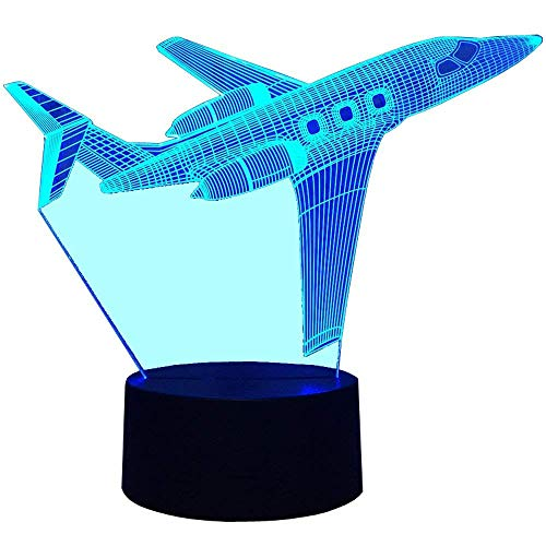 Illusion 3D Avion LED Lampe Art Déco Lampe Lumières LED Décoration Lampes Touch Control 7 Couleurs Change Veilleuse USB Powered Enfants Cadeau Anniversaire Noël Cadeaux