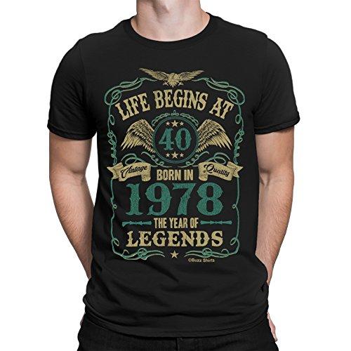 Life Begins At 40 Hommes T-Shirt - BORN In 1978 Year of Legends 40th Cadeau d'anniversaire - par Buzz Shirts ®