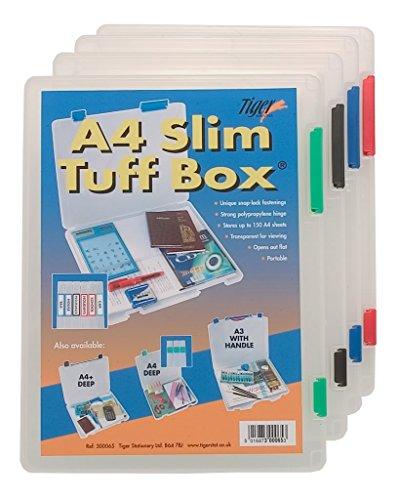 15 x A4 Slim Tuff Transparent Boîte de rangement Multi-Usage avec fichiers