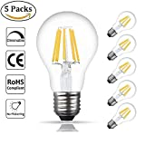 Bonlux LED Filament Bulbs E27 Dimmable 8W, Filament Bulb E27 A60 LED Large Edison Screw Base, 60W-80W Vintage Light Bulbs E27 Screw Halogen Bulbs Equivalent,Warm White 2700K (5-pack)