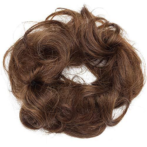 Chignon capelli veri ricci clip extension effetto naturale voluminoso elastico con 2 clips magic hair bun coda updo crocchia 25g #4 marrone cioccolato