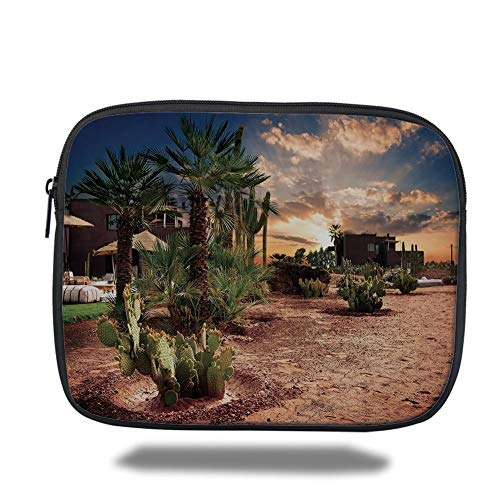 Oasis Palm-design (Tablet Bag for Ipad air 2/3/4/mini 9.7 inch,Desert,Majestic Sky View Palm Trees and Cactus in Oasis Morocco Tropic Nature,Blue Green Light Brown,3D Print)
