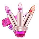 MagiDeal 2pcs Jelly Blume Lippenstifte, Lang Anhaltende und Farbwechsel mit Temperaturänderung Lipsticks, Make-up Lip Gloss Set