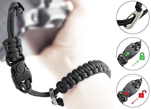 Paracord Kameraschlaufe/Klick-Verschluss mit Sperre/SCHWARZ/DSLR SLR Kompakt-Kamera Handschlaufe Trageschlaufe Handgelenkschlaufe Armband Schlaufe//von MIND-CARE-ESSENTIALS