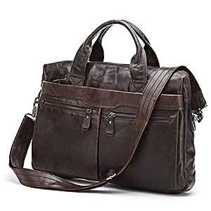 STILORD Sac en bandoulière / Besace pour hommes et femmes Unisexe Vintage Sac en cuir rétro Vintage pour enseignants Notebooks Sac en cuir marron