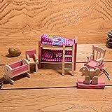 HorBous Puppenhausmöbel Set Holz Puppenhaus Kinderzimmer Badezimmer Schlafzimmer Wohnzimmer Küche Miniatur Möbel Zubehör Puppenhausmöbel Holz (Kinderzimmer)