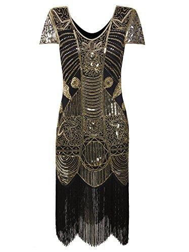 Vikoros Damen Cocktail Kleid, Paisley Gr. 48, Glam (Size Silver Kleider Plus)
