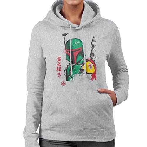 Mandalorian Armor Boba Fett Sumi e Star Wars Women's Hooded Sweatshirt Heather Grey
