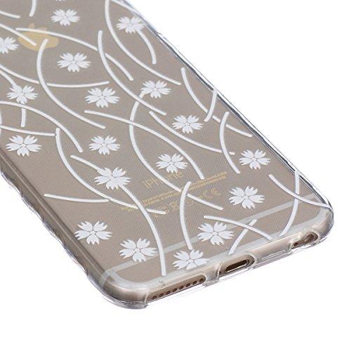 HB-Int 4 en 1 TPU Etui pour Apple iPhone SE / 5 / 5S Girafe Original Motif Coque Fashion Design Housse Gel Silicone Souple Couverture Légère Slim Flexible Coque Protecteur Fonction Anti Choc Anti Rayu Blanc Flower