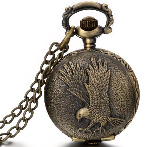 JewelryWe Damen Herren Taschenuhr Fliegender Adler Uhranhänger Quartz Legierung Kettenuhr Uhr Halskette Farbe Bronze